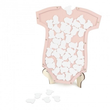 Detalle bautizo firmas babero rosa