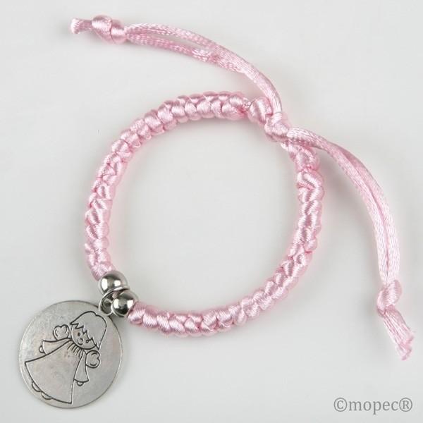 Recuerdo para Bautizo pulsera angel rosa