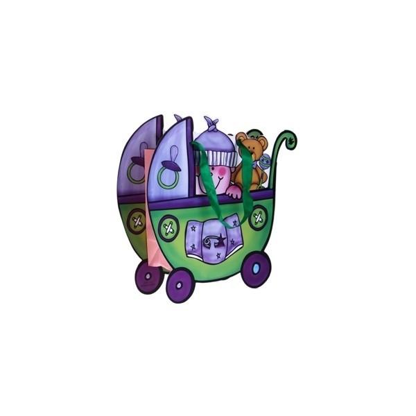 Detalle de Bautizo bolsa de regalo carrito verde
