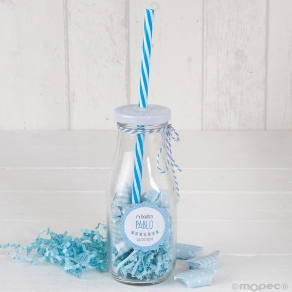Recuerdo para Bautizo botella caña azul