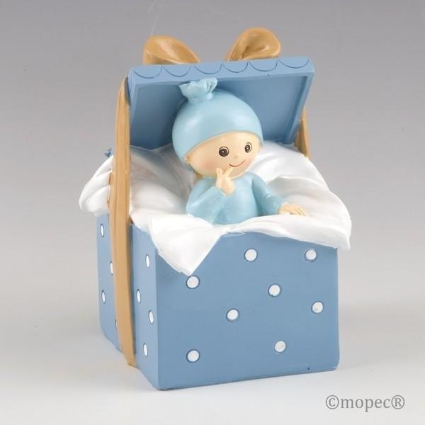 Recuerdo para Bautizo figura pastel hucha bebe azul