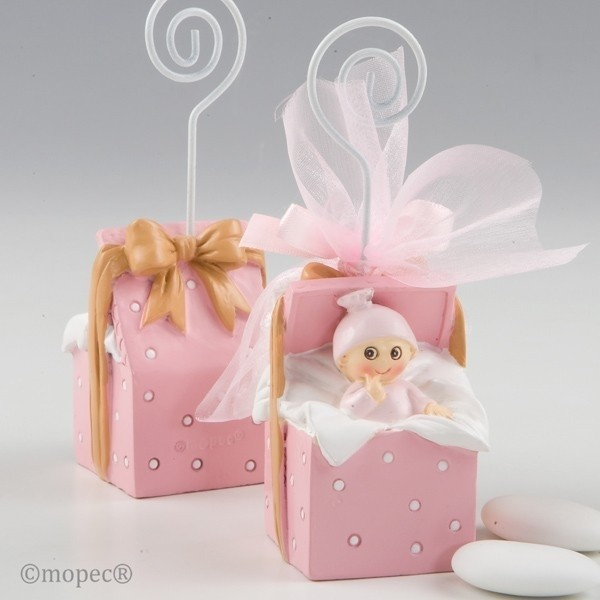 Recuerdo para Bautizo portafoto bebe caja regalo rosa 3 peladillas