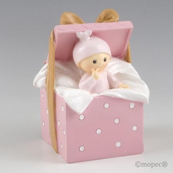 Recuerdo para Bautizo figura pastel hucha bebe rosa