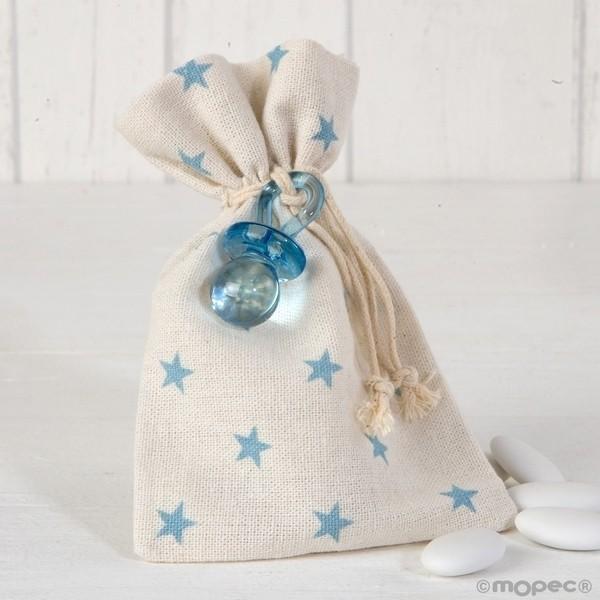 Recuerdo para Bautizo bolsa algodon chupete azul