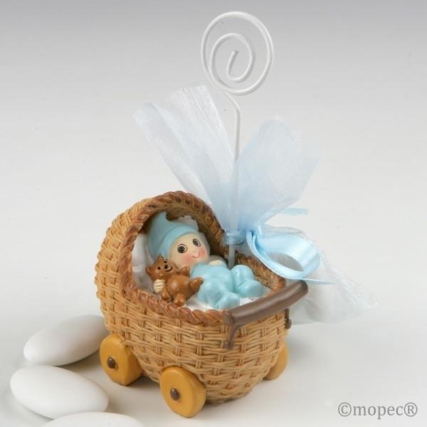 Recuerdo para Bautizo portafoto bebe azul cochecito tres peladillas