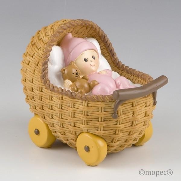 Recuerdo para Bautizo figura pastel hucha cochecito rosa