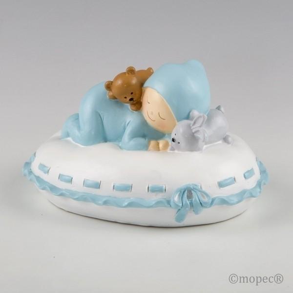 Recuerdo para Bautizo figura pastel hucha bebe azul en almohada