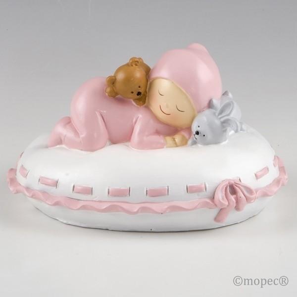 Recuerdo para Bautizo figura pastel hucha bebe rosa en almohada