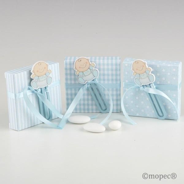 Recuerdo para Bautizo punto de libro bebe madera Azul caja