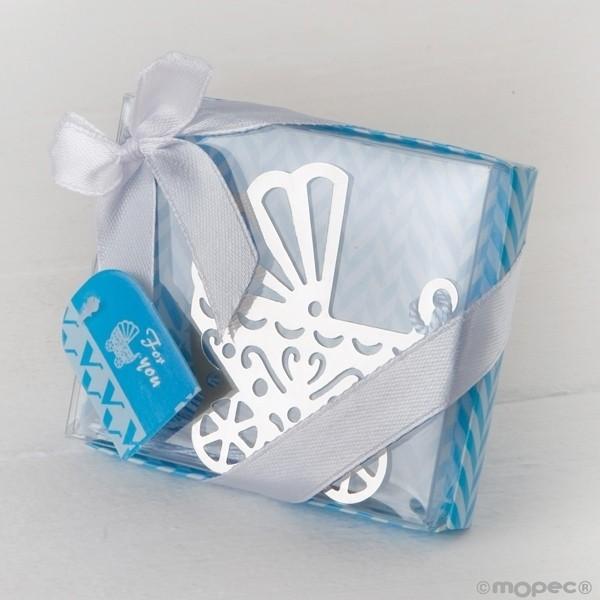 Recuerdo para Bautizo marcapaginas cochecito bebe en caja azul