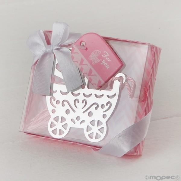 Recuerdo para Bautizo marcapaginas cochecito bebe en caja rosa