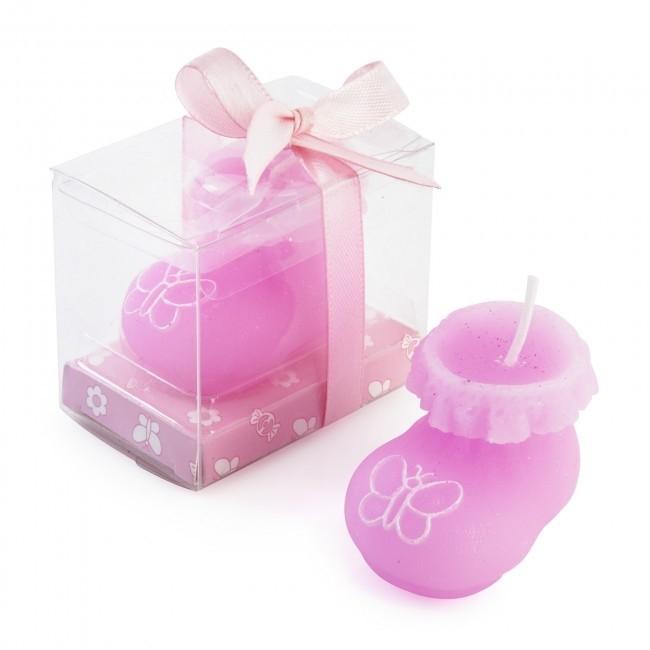 Recuerdo de bautizo vela patuco rosa