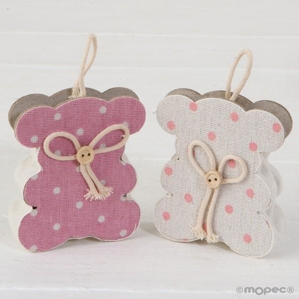 Recuerdo para Bautizo bolsa osito rosa y marfil