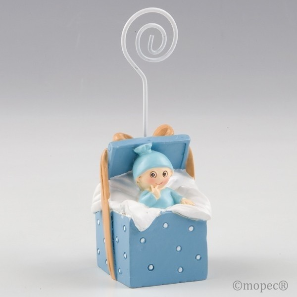 Recuerdo para Bautizo portafoto bebe caja regalo azul