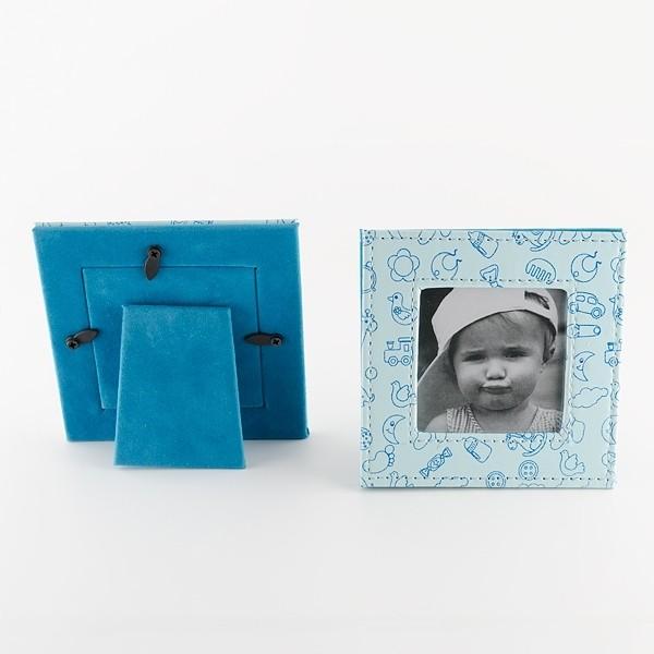 Detalle de Bautizo porta foto piel celeste dibujos bebe