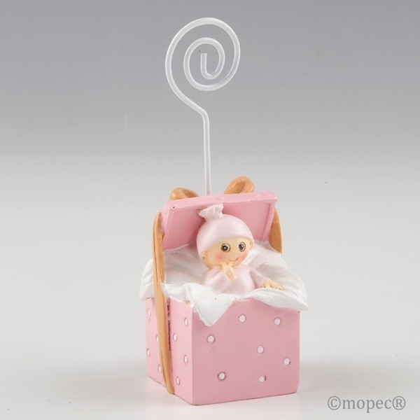 Recuerdo para Bautizo portafoto bebe caja regalo rosa