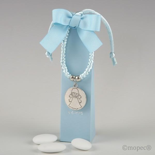 Recuerdo para Bautizo pulsera angel azul en caja