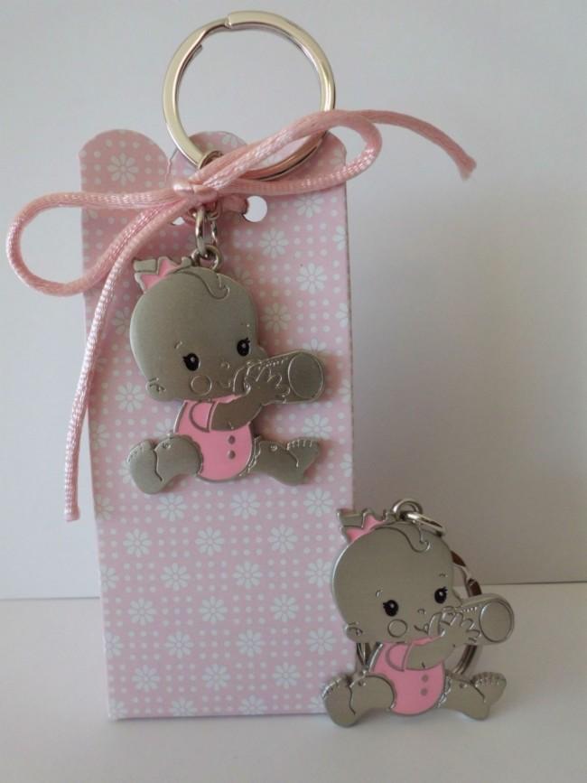 Detalle de Bautizo cajita peladillas llavero biberon rosa