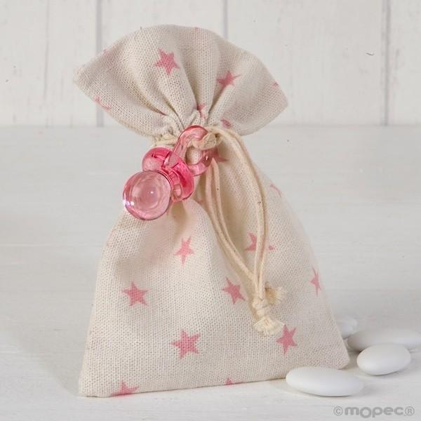 Recuerdo para Bautizo bolsa algodon chupete rosa