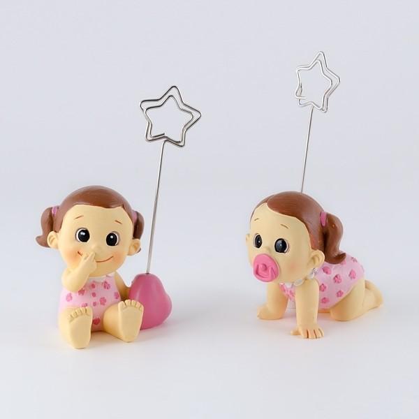Detalle de Bautizo sujeta tarjetas bebe niña gracioso