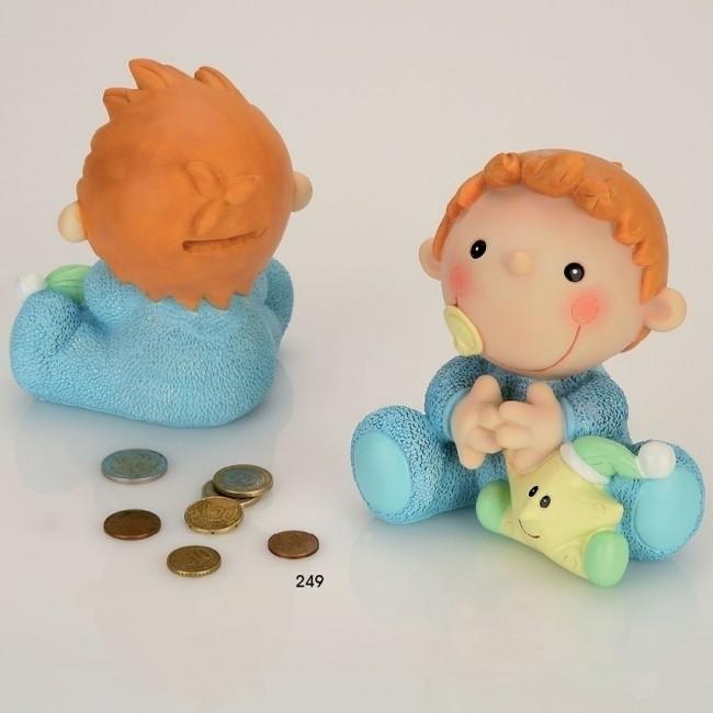 Detalle de Bautizo hucha bebe sentado azul