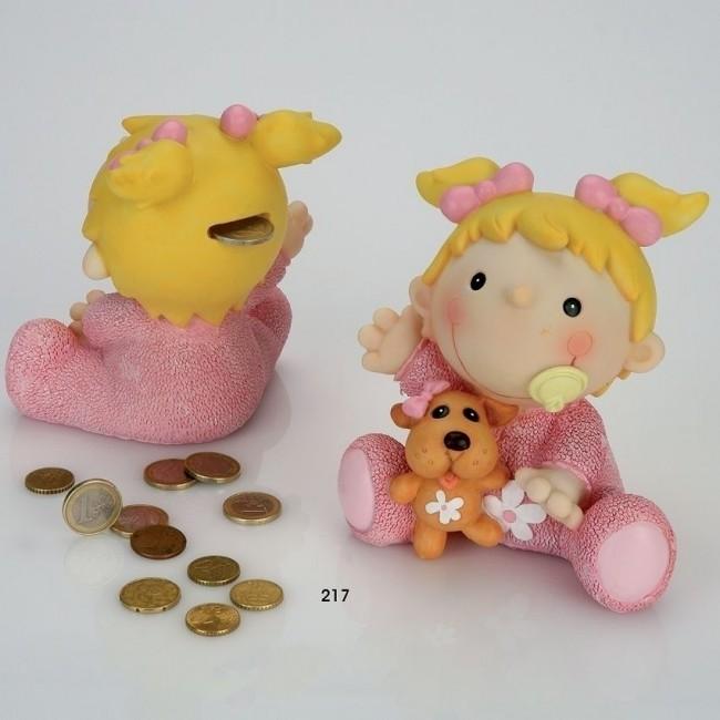Detalle de Bautizo hucha bebe sentada rosa