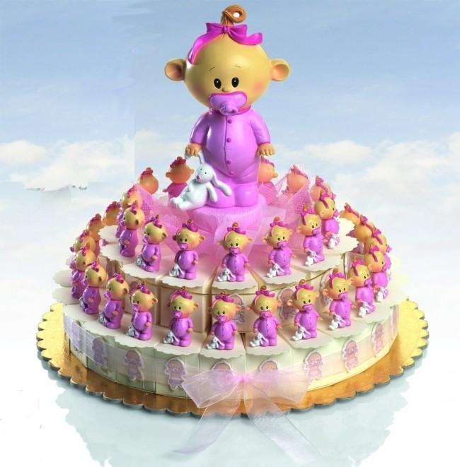 Detalle de Bautizo tarta porciones bebe chupete rosa