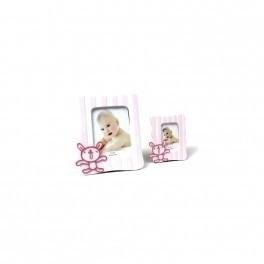 Detalle de Bautizo portafoto jugueton rosa grande