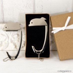 Detalle bautizo cuelga bolsos delfin en caja decorada