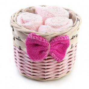 Recuerdo de bautizo Canasta con tres toallas