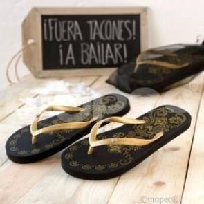 Chancla De Playa Negra Y Dorada