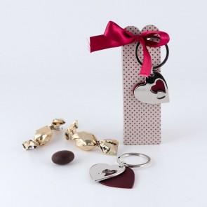 Detalle bautizo llavero corazón doble caja y chocolate