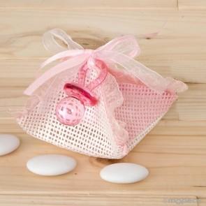 Recuerdo para Bautizo estuche pañuelo con chupete rosa