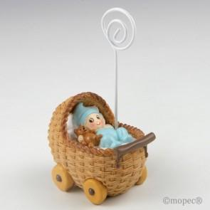 Recuerdo para Bautizo portafoto bebe azul en cochecito