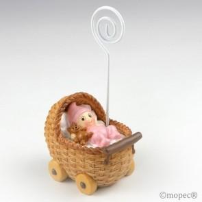 Recuerdo para Bautizo portafoto bebe rosa en cochecito