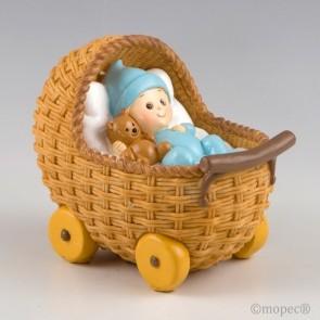 Recuerdo para Bautizo figura pastel hucha cochecito azul