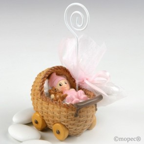 Recuerdo para Bautizo portafoto bebe rosa en cochecito con tres peladillas