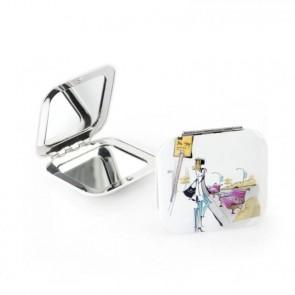 Detalle bautizo espejo aluminio cuadrado blanco
