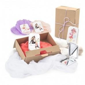 Detalle bautizo caja ondulada foulard con espejo chicas