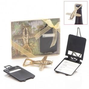 Set abridor con tarjeta maleta para Detalle de Bautizo hombre