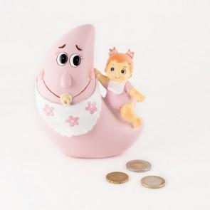 Detalle de Bautizo hucha luna bebe niña pijama rosa