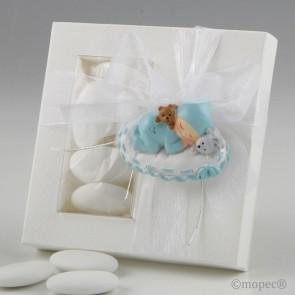 Recuerdo para Bautizo iman bebe azul con 5 peladillas
