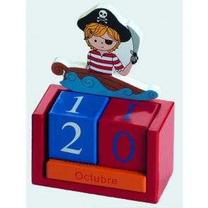 Detalle de Bautizo para niños calendario madera pirata