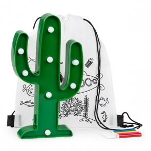Mochila colorear con lámpara cactus para detalle niños