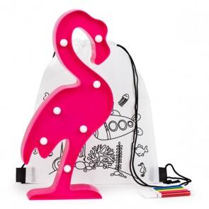 Mochila colorear con lámpara flamencos para detalle niños