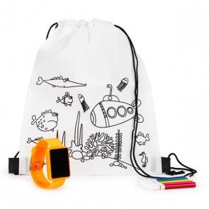 Mochila colorear con reloj digital para detalle niños