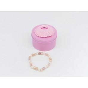 Detalle bautizo pulsera natural caja rosa