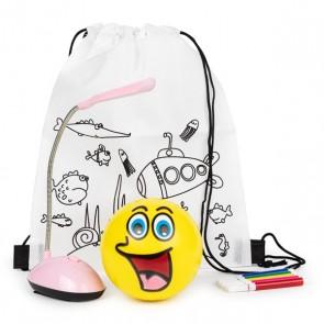 Mochila con lámpara rosa y pelota de caritas para detalle de niñas