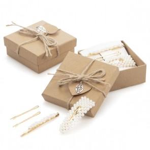Detalle bautizo mujer caja regalo con pasadores perlas