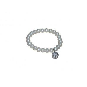 Detalle bautizo pulsera de perlas blancas con llamador